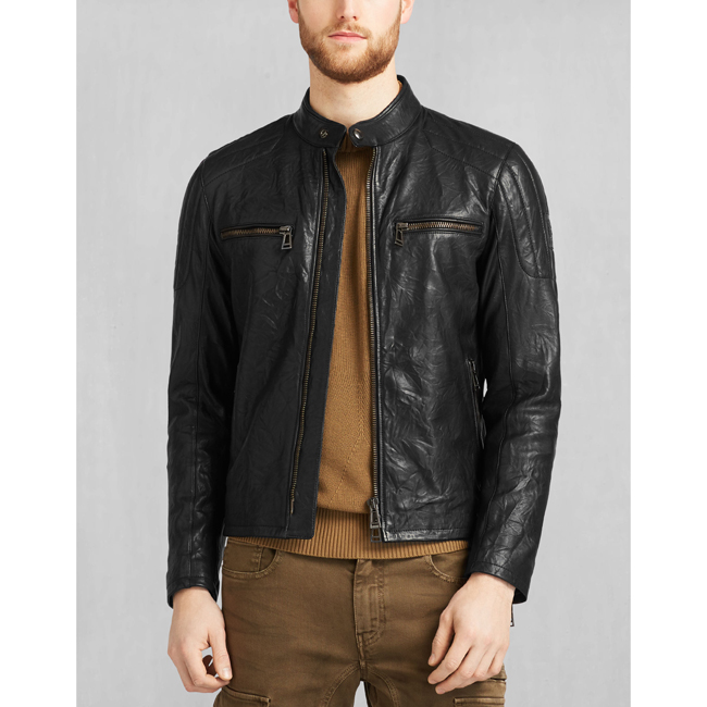 Cheap Belstaff Men BLACK ARCHER BIKER JACKET Online