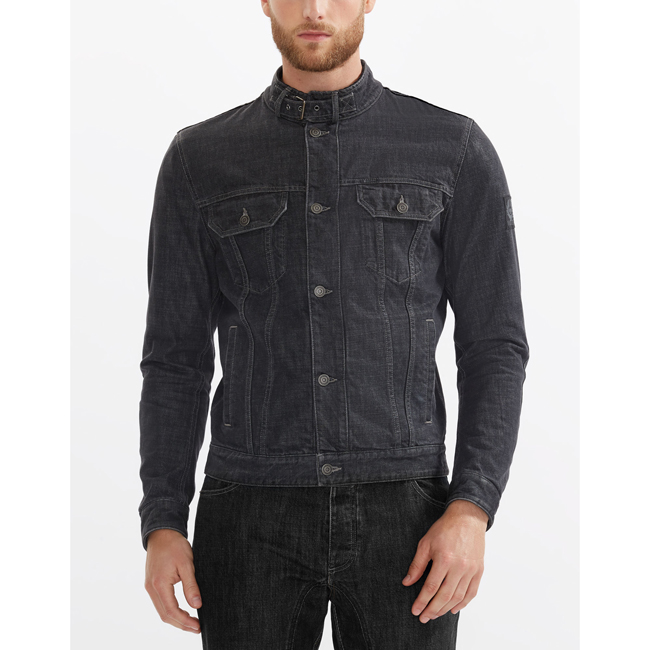 Cheap Belstaff Men BLACK VELOCETTE DENIM MOTORCYCLE JACKET Online