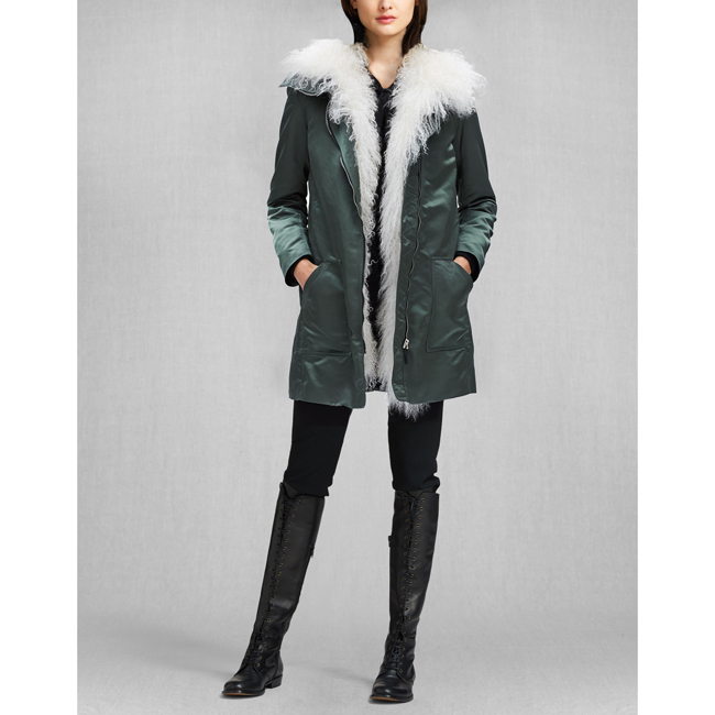Cheap Belstaff Women MILITARY GREEN LIV TYLER THWAITE PARKA WITH FUR Online