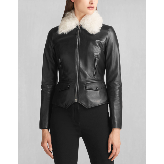 Cheap Belstaff Women BLACK LIV TYLER ROXIE SHEARLING COLLAR JACKET Online