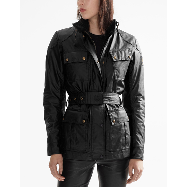 Cheap Belstaff Women BLACK CLASSIC TOURIST TROPHY 4-POCKET MOTORCYCLE JACKET Online