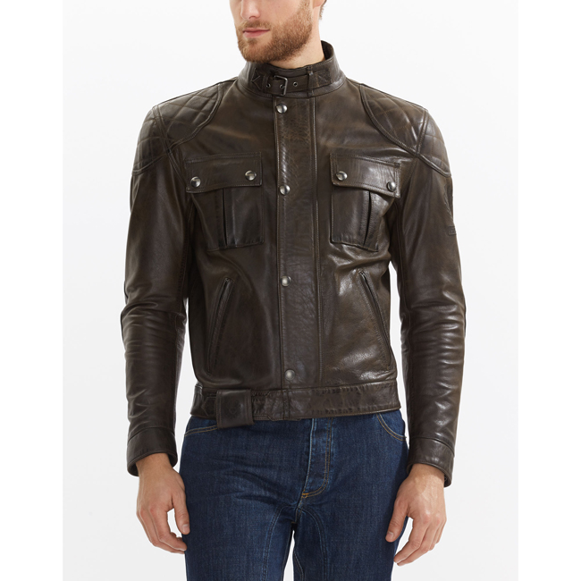 Cheap Belstaff Men BLACK BROWN BROOKLANDS MOTORCYCLE JACKET Online