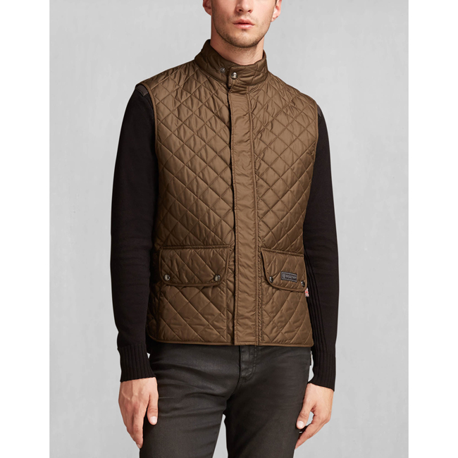 Cheap Belstaff Men FADED OLIVE QUILTED WAISTCOAT Online