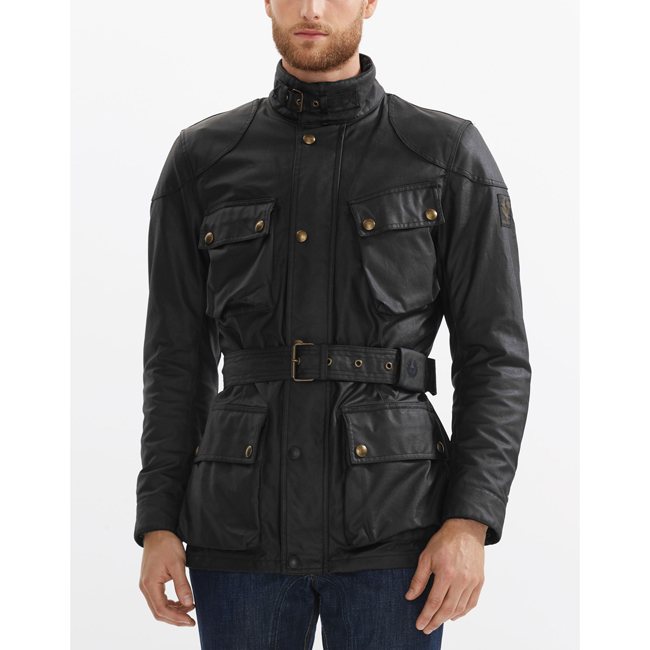 Cheap Belstaff Men BLACK CLASSIC TOURIST TROPHY 4-POCKET MOTORCYCLE JACKET Online