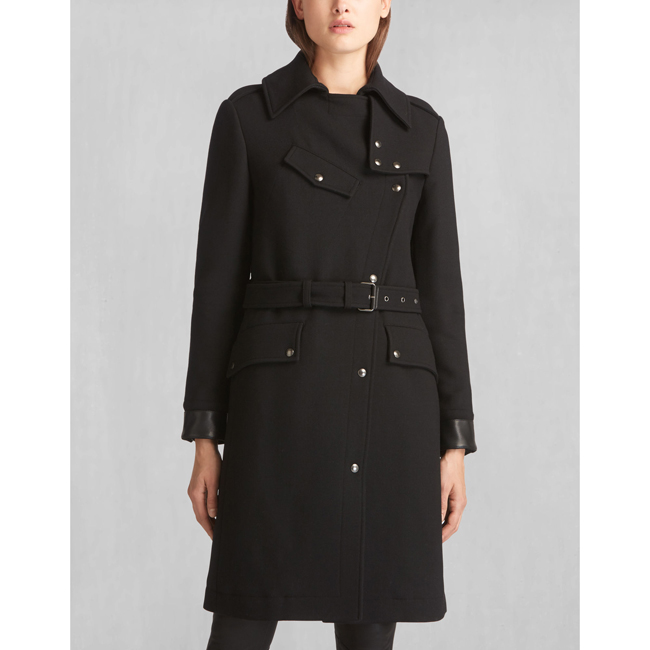 Cheap Belstaff Women BLACK ALLARD RIDERS LONG COAT Online