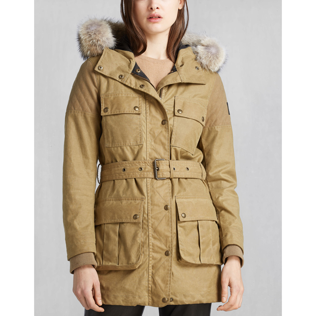 Cheap Belstaff Women ANTIQUE BEIGE TRECKMASTER PARKA WITH FUR Online
