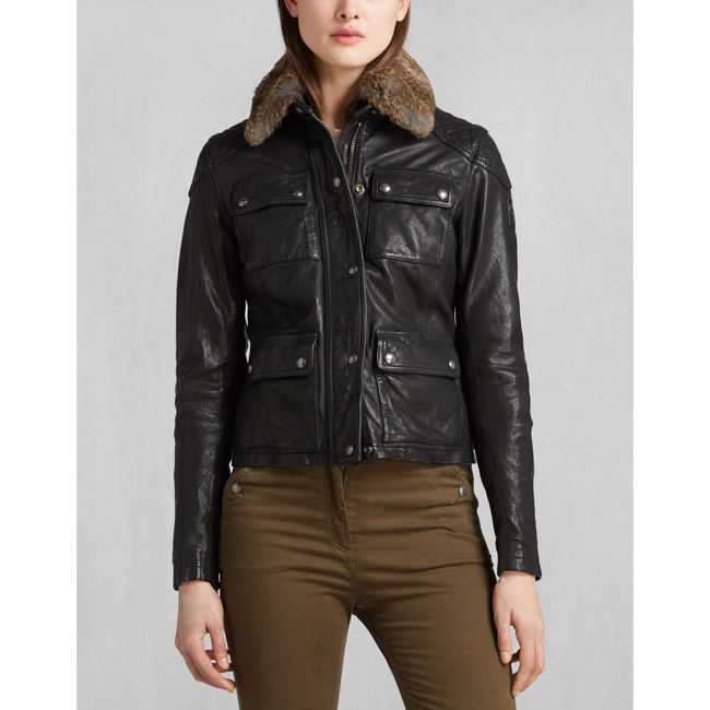 Cheap Belstaff Women BLACK ATTEBURY FOUR POCKET JACKET Online