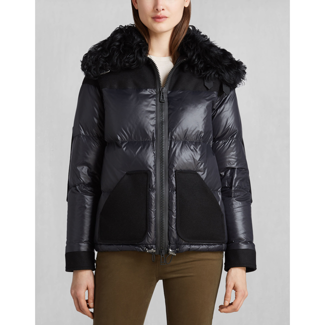 Cheap Belstaff Women BLACK BARONET DOWN JACKET WITH FUR Online
