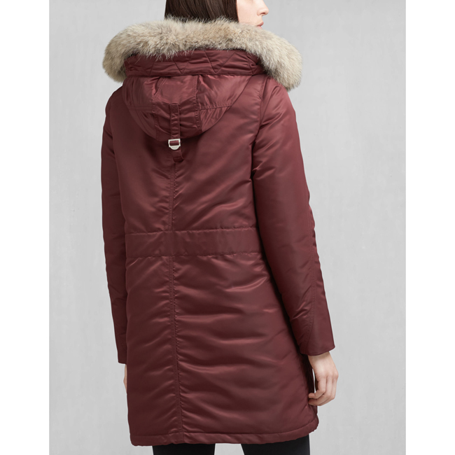 Cheap Belstaff Women BURGUNDY DRAKE DOWN COAT WITH FUR Online