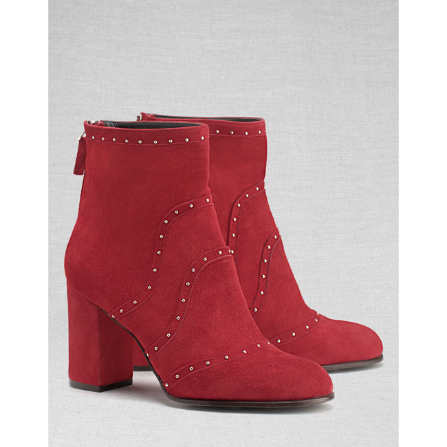 Cheap Belstaff Women  BURGUNDY POINTET STUDDED SHORT BOOTS Online